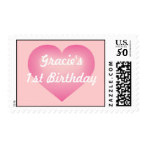 Pink fade heart baby girl first birthday postage