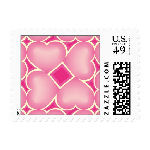 Pink fade hearts surround pattern 1 postage stamps