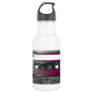 Pink Fade Houndstooth Label Cassette 18oz Water Bottle