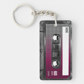 Pink Fade Label Houndstooth Cassette Keychain