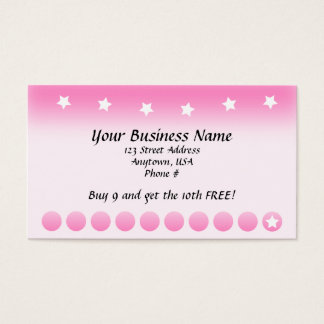 Pink Fade with Stars Customer Loyalty Cards
