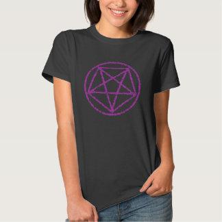 Pink Faded Satanic Star Power Symbol Tee