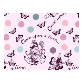 Pink Fairies, Butterflies and Colorful Polka Dots Postcard