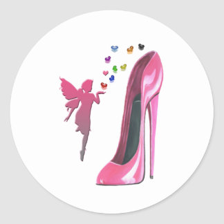 Pink Fairy and Stiletto Shoe Art Round Stickers
