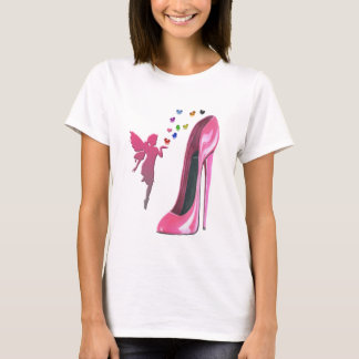 Pink Fairy and Stiletto Shoe Art T-Shirt