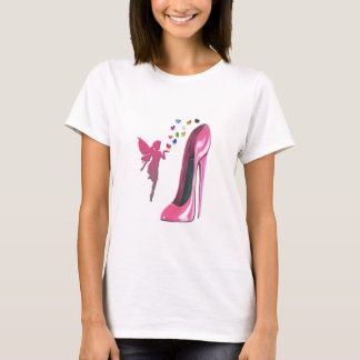 Pink Fairy and Stiletto Shoe with 3D Hearts T-Shirt