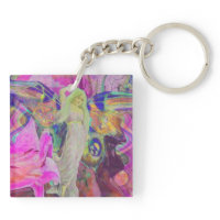 Pink Fairy Angel Butterfly and Flowers Acrylic Key Chains