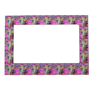 Pink Fairy Angel Butterfly and Flowers Magnetic Photo Frame