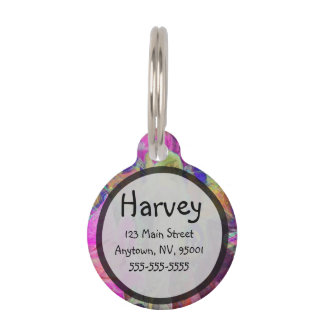 Pink Fairy Angel Butterfly and Flowers Pet Name Tag