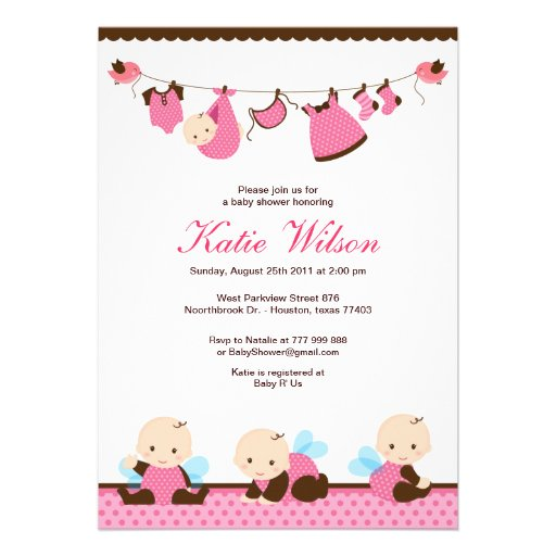 pink fairy baby shower 5x7 paper invitation card zazzle