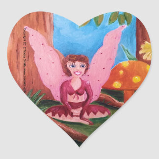 Pink Fairy beside orange mushroom heart sticker