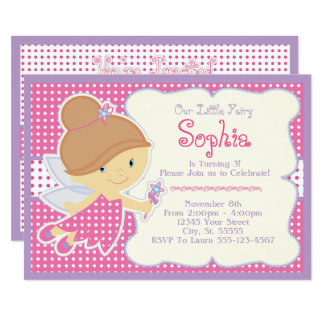 Pink Fairy Birthday Invitations