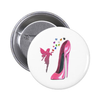 Pink Fairy Hearts and Stiletto Shoe Art 2 Inch Round Button