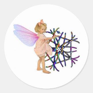 Pink Fairy Round Stickers