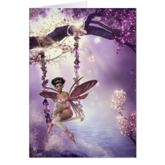 Pink Fairy Swing Greeting Card