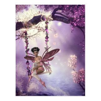 Pink Fairy Swing Postcard