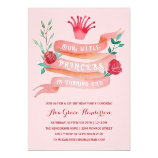 Pink Fairy Tale Princess 1st Birthday Girl Invitation