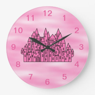 Pink Fairytale Castle Large Clock