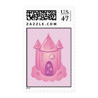 Pink Fairytale Castle Postage Stamps