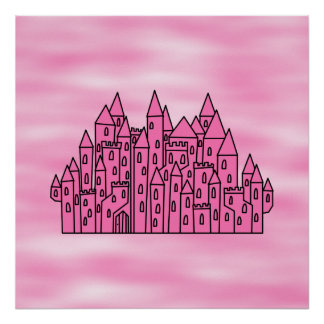 Pink Fairytale Castle Print