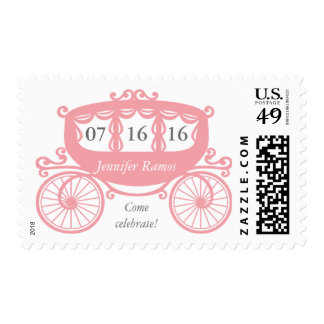 Pink Fairytale Horse Carriage Postage Stamps