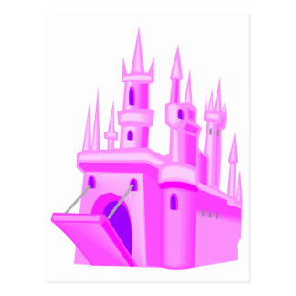 Pink Fairytale Wedding Castle Postcard