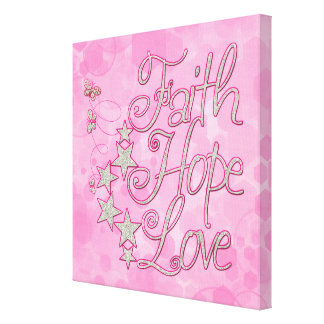 Pink Faith Hope Love Butterflies Stars Canvas Print