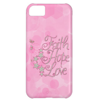 Pink Faith Hope Love Butterflies Stars Virtues iPhone 5C Cover