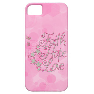 Pink Faith Hope Love Butterflies Stars Virtues iPhone 5 Cases
