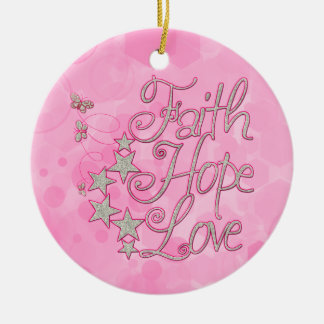 Pink Faith Hope Love Butterflies Stars Virtues Ceramic Ornament