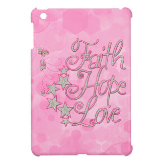Pink Faith Hope Love Butterflies Stars Virtues iPad Mini Cover