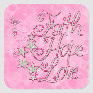 Pink Faith Hope Love Butterflies Stars Virtues Square Sticker