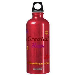 Pink faith, hope, love verse! water bottle