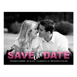 Pink Fake Glitter Save the Date Photo Postcard