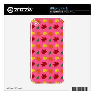 Pink fall leaves iPhone 4 decal