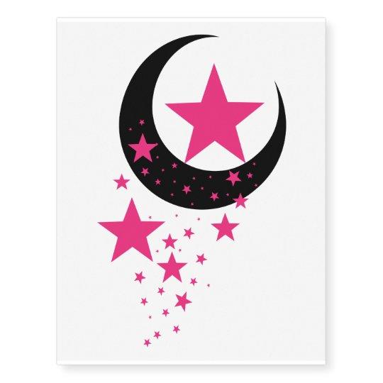 Pink Falling Stars & Moon Temporary Tattoos | Zazzle.com