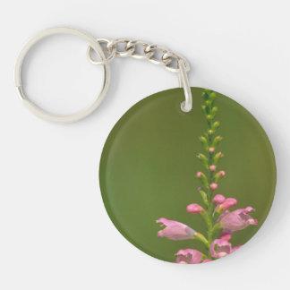 Pink False Dragonhead Flower Round Acrylic Key Chains