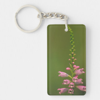 Pink False Dragonhead Flower Rectangle Acrylic Keychain