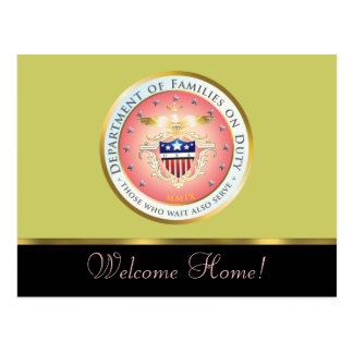 Pink Families on Duty Seal Customized Postcard