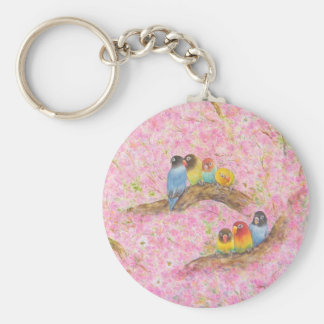 Pink Family Bliss Basic Round Button Keychain