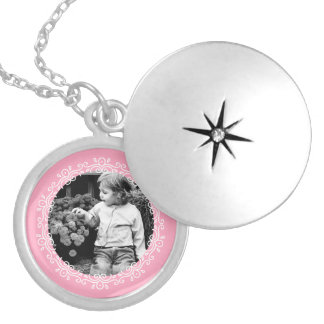 Pink Fancy Frame Custom Photo Silver Plated Necklace