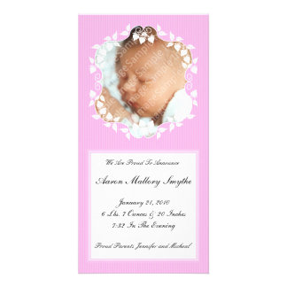 Pink Fancy Girl New Baby Photo Card
