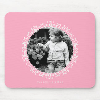 Pink Fancy Swirls Photo Frame Mouse Pad