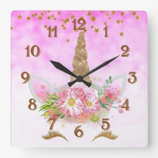 Pink Fantasy and Golden Stars Unicorn Square Wall Clock