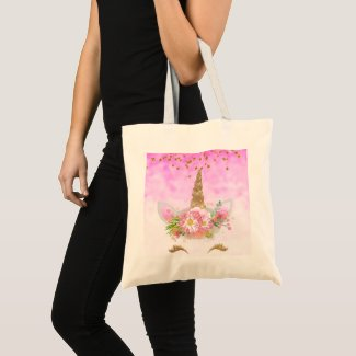 Pink Fantasy and Golden Stars Unicorn Tote Bag
