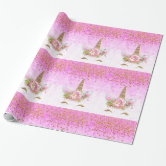 Pink Fantasy and Golden Stars Unicorn Wrapping Paper