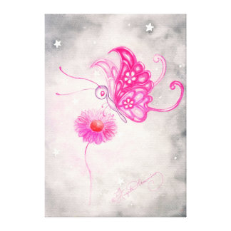 Pink Fantasy Butterfly On Daisy Stretched Canvas Print