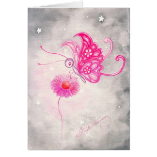 Pink Fantasy Butterfly On Daisy Card