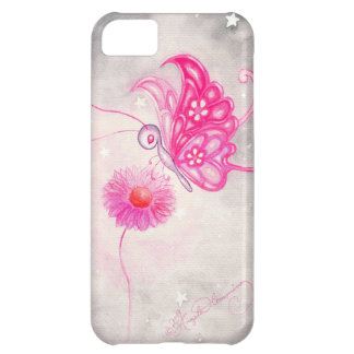 Pink Fantasy Butterfly On Daisy Cover For iPhone 5C