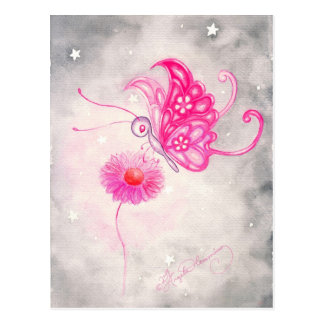 Pink Fantasy Butterfly On Daisy Postcard
